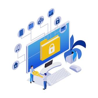 Удаленное управление удаленная работа изометрическая композиция иконок с рабочим компьютером и блок-схемой услуг