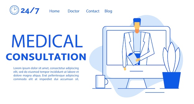 Remote medical consultation treatment landing page template. telemedicine, online healthcare. doctor on computer screen. internet consultation technology. virtual patient help. digital communication
