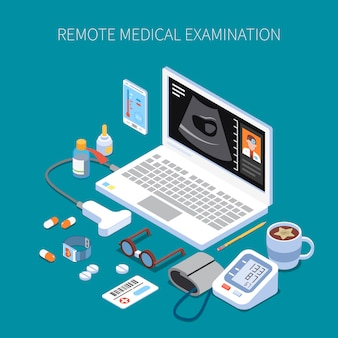 Remote medical examination isometric composition with human organ ultrasound on laptop screen and medicine devices