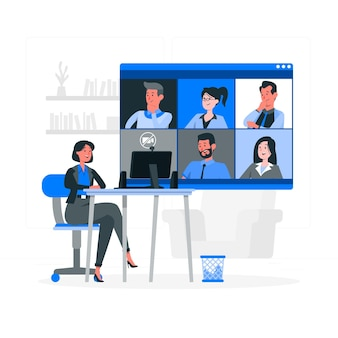 Remote meeting concept illustration