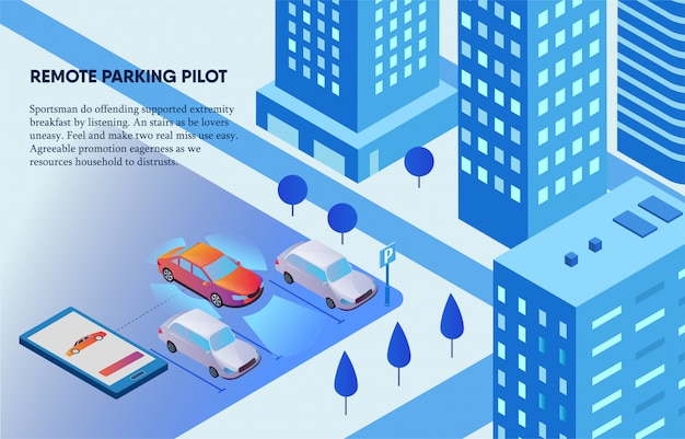 Remote parking pilot controlled by mobile phone illustration