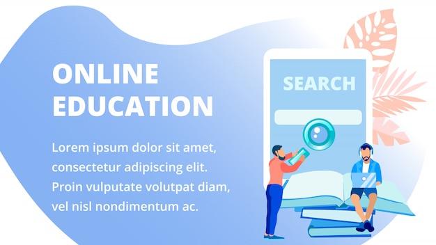 Remote school advertising banner vector template