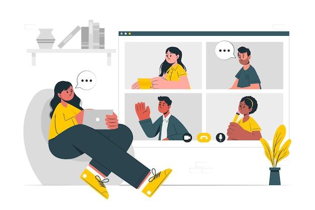 Remote team concept illustration
