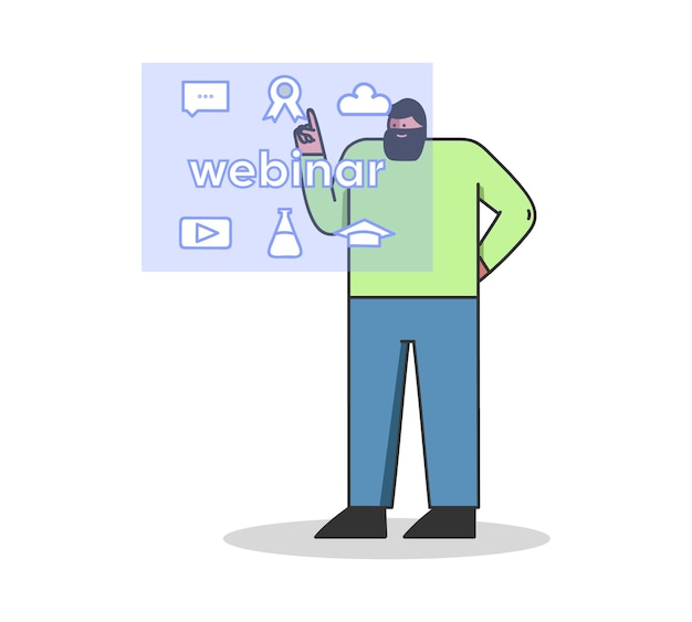 Remote video conference or webinar male character is choosing an online course