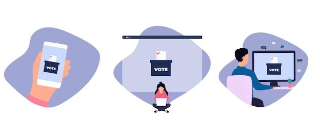 Удаленное голосование женщина голосует через ноутбук