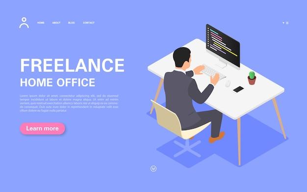 원격 작업 배너 개념. 한 남자가 책상에있는 컴퓨터에서 작업합니다. 아이소 메트릭 그림