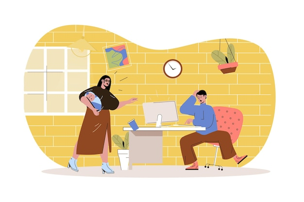 Remote work disadvantage web concept male distant worker distracted by wife with baby stress at work