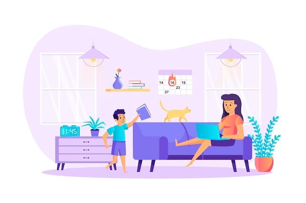 在宅勤務の不利な点フラットなデザインコンセプトと人のキャラクターシーン