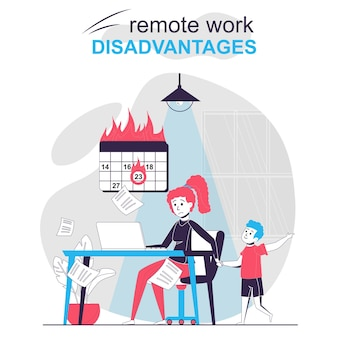Remote work disadvantages isolated cartoon concept child distracts mother working at home