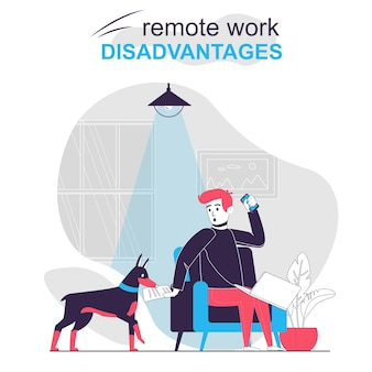 Remote work disadvantages isolated cartoon concept dog distracts man working at home