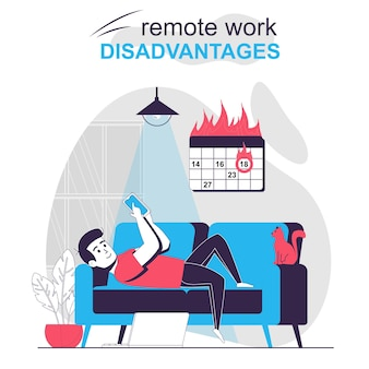 Remote work disadvantages isolated cartoon concept man is distracted by phone burn deadline