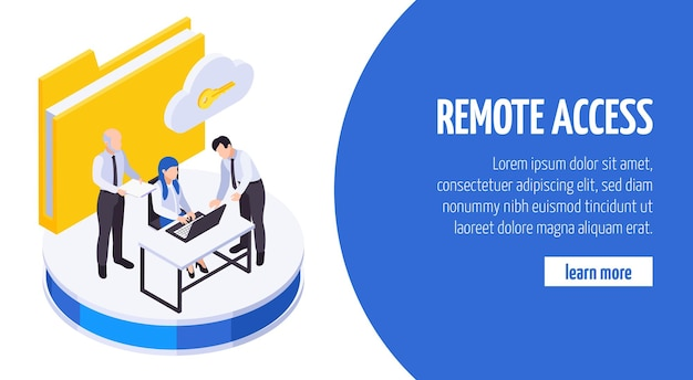 Remote work employees communication secure data sharing access isometric banner with cloud folder key