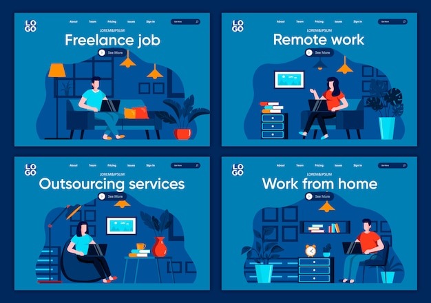 Remote work flat landing pages set. freelancer working with laptop in comfortable conditions scenes for website or cms web page. freelance job, outsourcing service, work from home illustration.