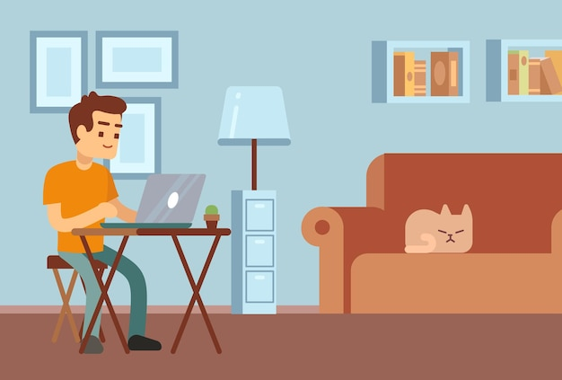 Remote work. freelance, distance learning. young man sitting at desk with laptop. student or manager working in living room with sleeping cat on sofa vector illustration. distance freelance online