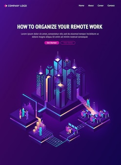 Remote work isometric landing, global outsourcing