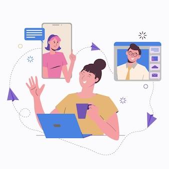 원격 작업 온라인. 노트북과 프리랜서 소녀입니다. 동료와의 의사 소통, 과제.