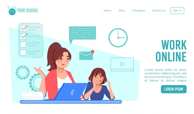 Remote work online from home landing page design