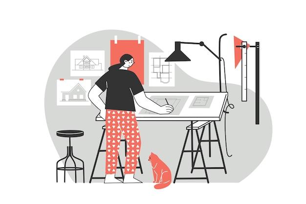 Удаленная работа или дистанционное обучение работа на дому персонаж фрилансера, работающий из дома, удобное рабочее место, плоская иллюстрация мужчина и женщина, концепция самозанятости
