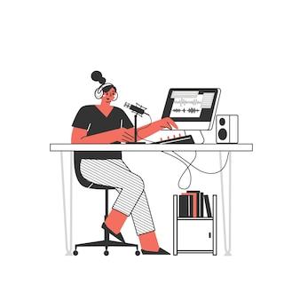 원격 근무 또는 원격 학습. 집에서 일하십시오. 집에서 일하는 프리랜서 캐릭터, 편리한 직장. 평면 그림 여자 자영업 개념