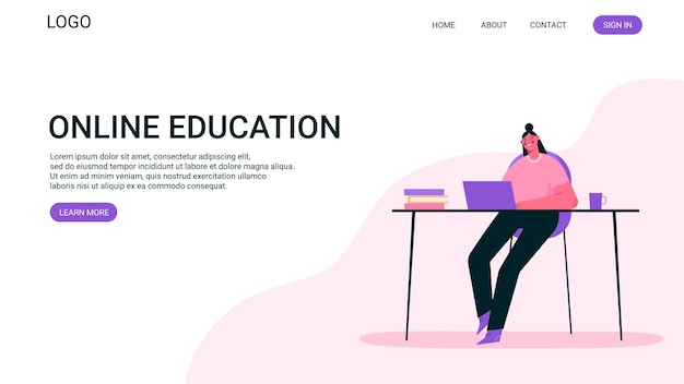 원격 작업 또는 온라인 교육 개념 랜딩 페이지 프리미엄 벡터