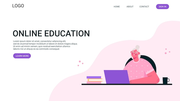 원격 근무 또는 고령 교육 온라인 방문 페이지