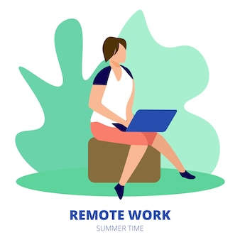 Remote work square banner. man freelancer sitting outdoors at summer time working distant on laptop.