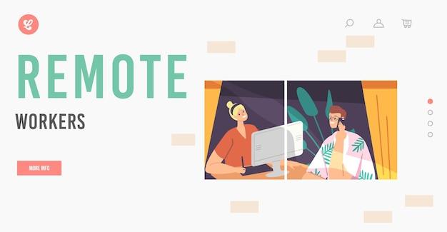 Шаблон целевой страницы удаленных сотрудников. фриланс, расслабленные персонажи-фрилансеры, мужчина и женщина, сидящие у окна и работающие вдали от дома на компьютере. мультфильм люди векторные иллюстрации
