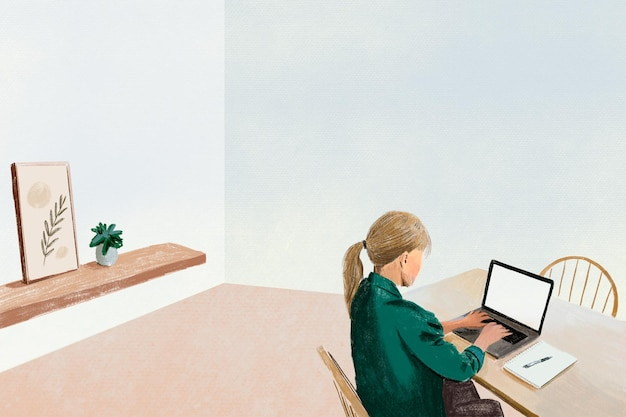 Remote working background in the new normal color pencil illustration