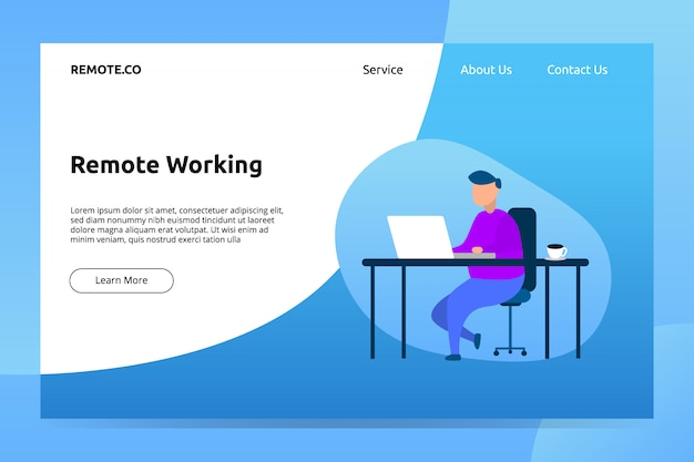 Remote working banner and landing page illustration