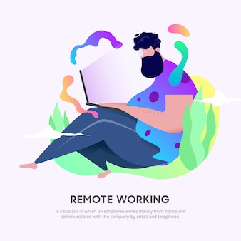 Remote working character