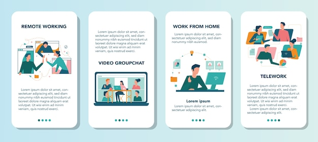 Remote working mobile application banner set. telework and global outsourcing, employee work from home. social-distance during corona virus quarantine.