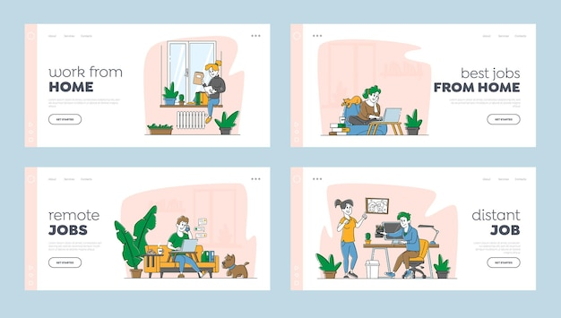 Remote workplace, homeworking landing page template
