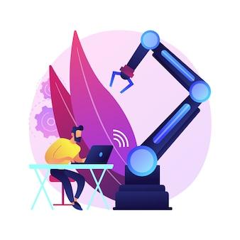 원격으로 운영되는 로봇 추상 개념 그림. 원격으로 작동하는 유연한 로봇, 인간 제어, 로봇 시스템 조작, 텔레 로봇 작업, 기능.