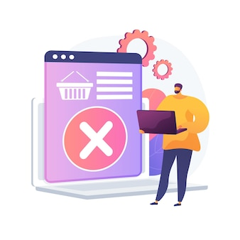 Removing goods from basket, refusing to purchase, changing decision. item deletion, emptying trash. online shopping app, laptop user cartoon character. vector isolated concept metaphor illustration.