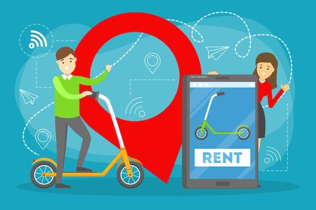 Ren 스쿠터 서비스 개념. 시내 교통