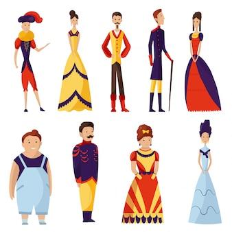 中世のファッションヴィンテージドレス歴史的な王室の服イラストバロック様式のルネッサンス服女男文字は、白で隔離される芸術的な衣装布の人々を設定