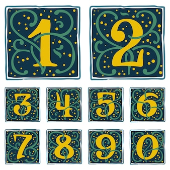 Renaissance numbers set with gold dots and green leaves pattern classic vector typeface