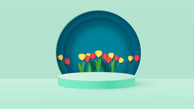 Render of a podium box with spring flowers. bright tulips, podium or pedestal backgrounds.