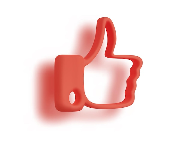 Render red thumbs up with shadow isolated on white background. vector illustration