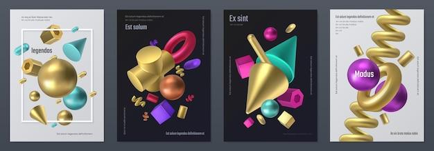 Визуализируйте плакат фигур. реалистичные трехмерные геометрические формы, минимальный флаер с абстрактными изометрическими элементами. вектор рендеринга металлических фигур, иллюстрации набор элементов различных форм