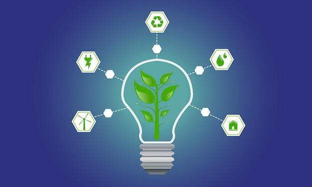 재생 가능한 에코 에너지 플랫 아이콘 기후 변화 구성