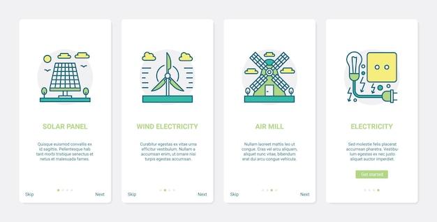 Возобновляемые экологические источники энергии окружающая среда технология ux ui экран мобильного приложения набор экранов
