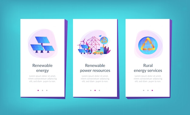Renewable energy app interface template.