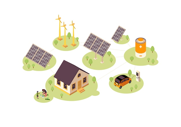 Renewable energy color illustration