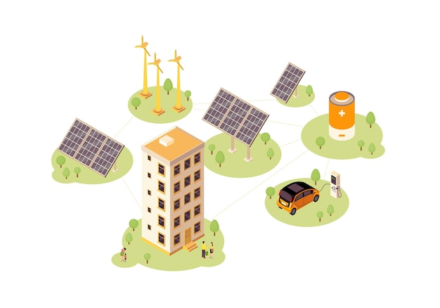 Renewable energy color . solar, wind power production infographic. electric car charging station. eco energy 3d concept. windmill, solar grid, battery. webpage, mobile app design
