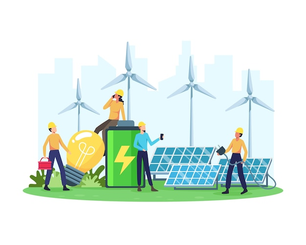 Концепция возобновляемой энергии. возобновляемая электростанция с солнечными батареями и ветряными турбинами. чистая электроэнергия из возобновляемых источников солнца и ветра. в плоском стиле