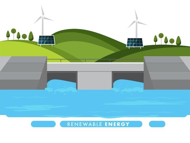 ソーラーパネル、風車、自然景観橋の背景を持つ再生可能エネルギーの概念。