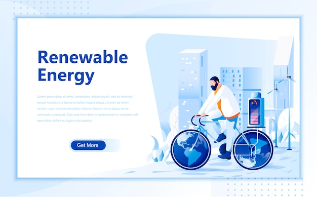 Renewable energy flat landing page template of homepage