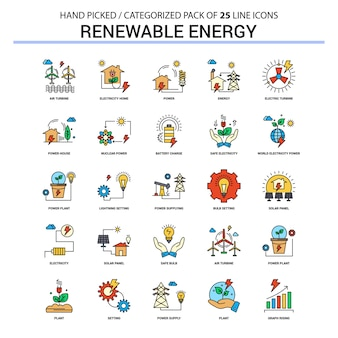 Renewable energy flat line icon set