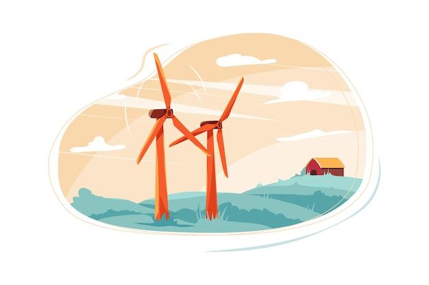 再生可能エネルギーのイラストのコンセプト